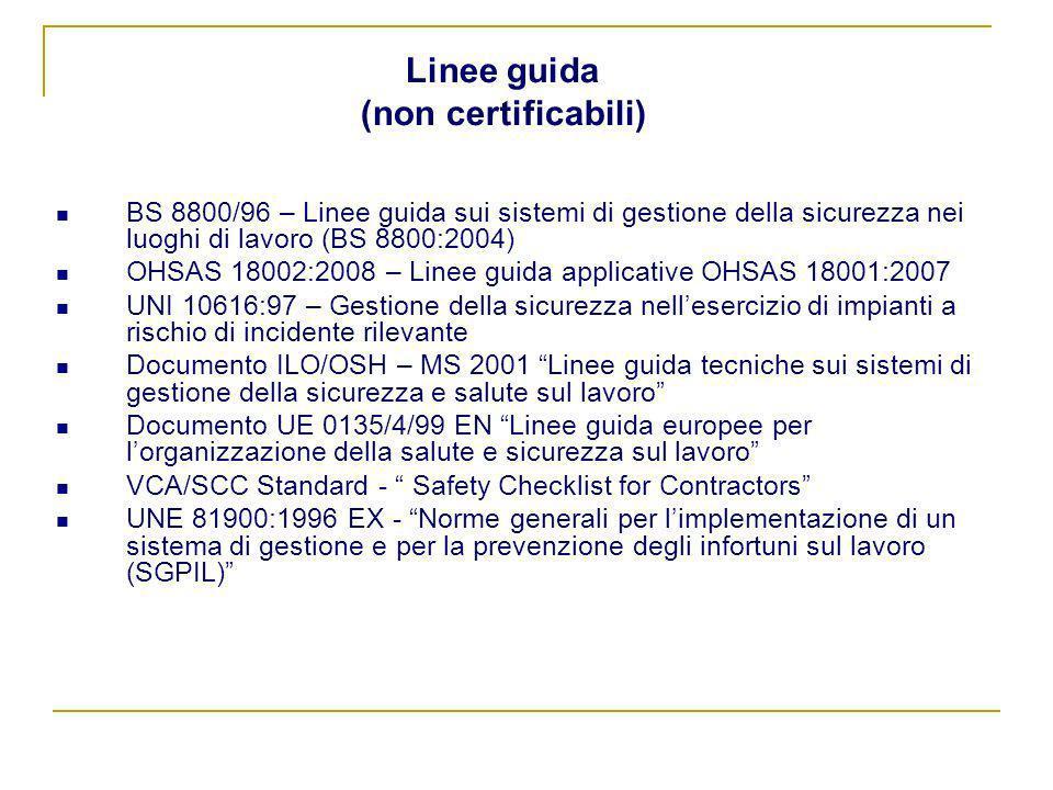 Linee guida (non certificabili) BS 8800/96 – Linee guida sui sistemi di gestione della sicurezza nei luoghi di lavoro (BS 8800:2004) OHSAS 18002:2008