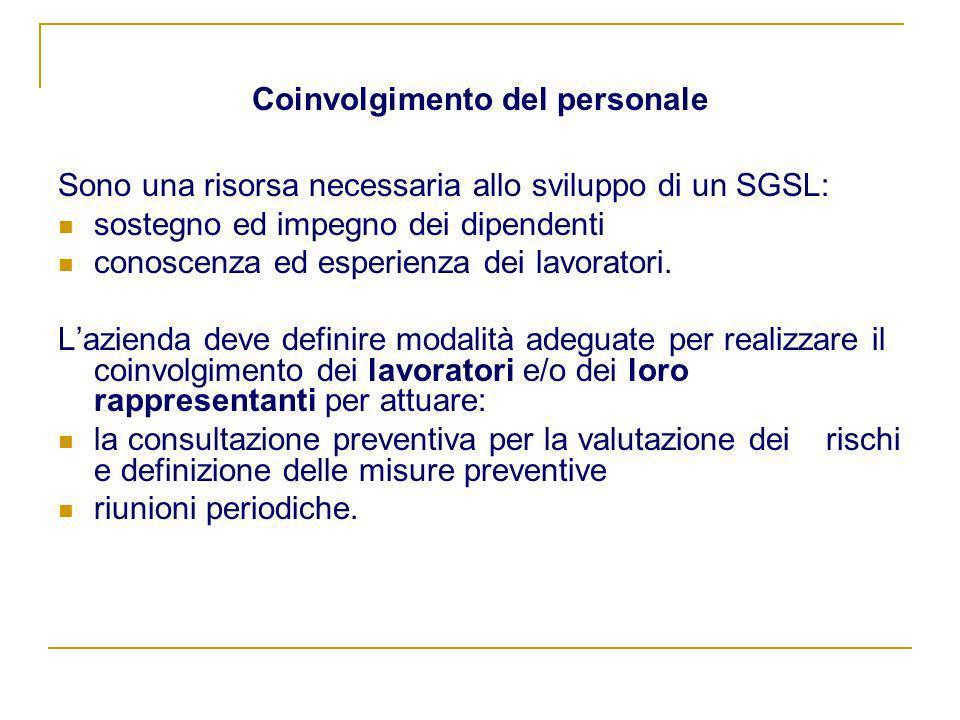 Coinvolgimento del personale Sono una risorsa necessaria allo sviluppo di un SGSL: sostegno ed impegno dei dipendenti conoscenza ed esperienza dei lav