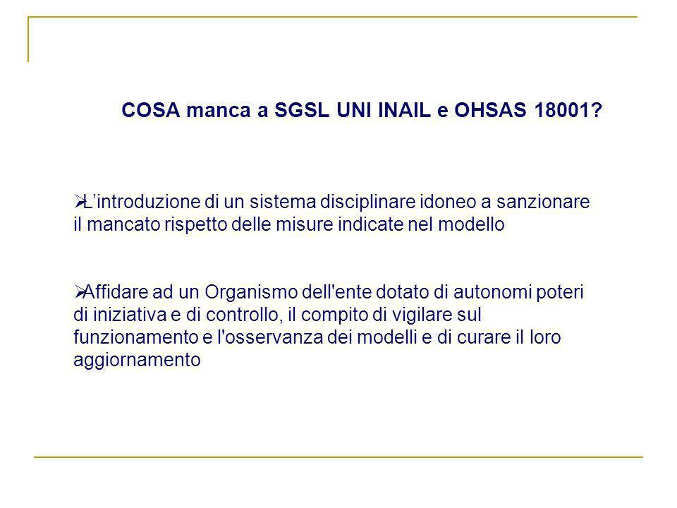 COSA manca a SGSL UNI INAIL e OHSAS 18001? Lintroduzione di un sistema disciplinare idoneo a sanzionare il mancato rispetto delle misure indicate nel