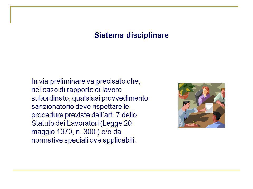 Sistema disciplinare In via preliminare va precisato che, nel caso di rapporto di lavoro subordinato, qualsiasi provvedimento sanzionatorio deve rispe