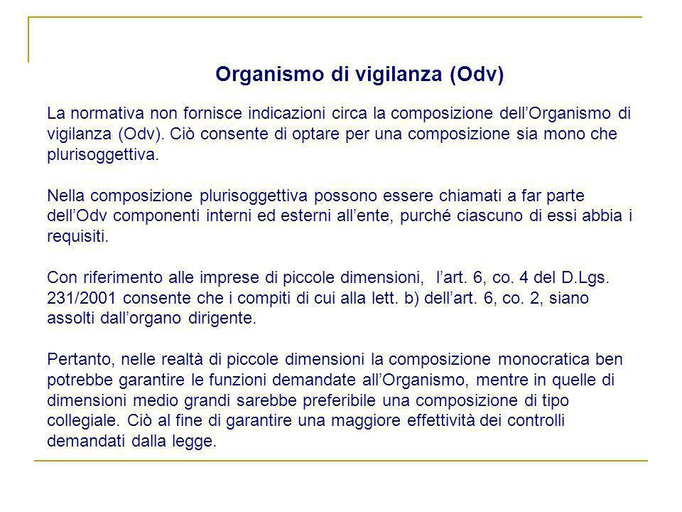 Organismo di vigilanza (Odv) La normativa non fornisce indicazioni circa la composizione dellOrganismo di vigilanza (Odv). Ciò consente di optare per