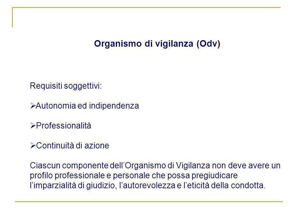 Organismo di vigilanza (Odv) Requisiti soggettivi: Autonomia ed indipendenza Professionalità Continuità di azione Ciascun componente dellOrganismo di