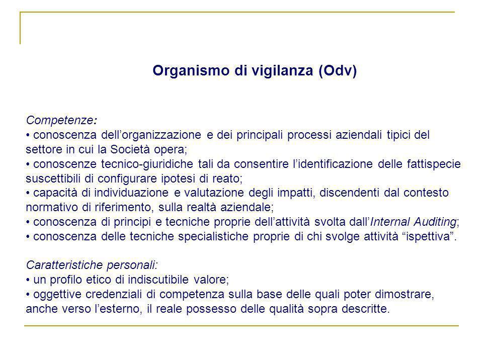 Competenze: conoscenza dellorganizzazione e dei principali processi aziendali tipici del settore in cui la Società opera; conoscenze tecnico-giuridich