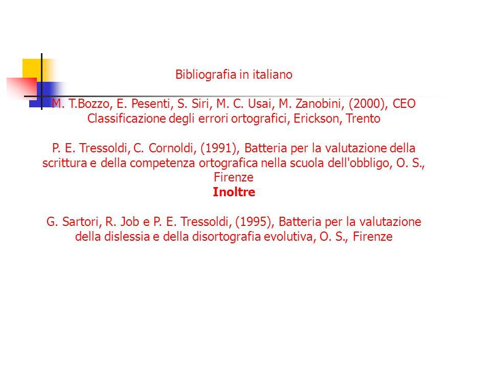 Bibliografia in italiano M. T.Bozzo, E. Pesenti, S. Siri, M. C. Usai, M. Zanobini, (2000), CEO Classificazione degli errori ortografici, Erickson, Tre