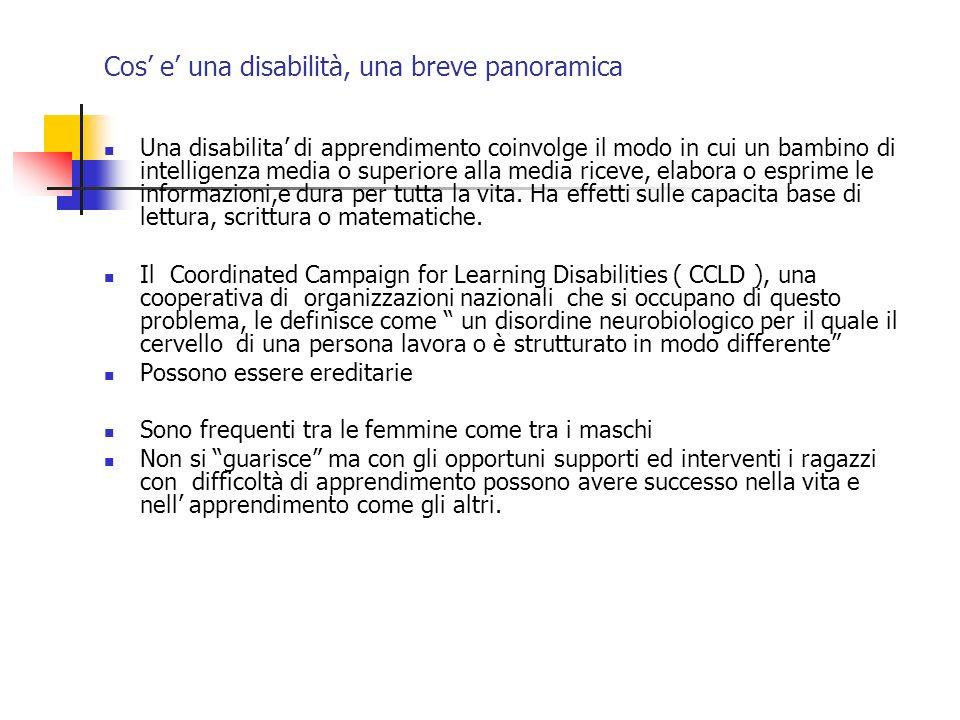 Cos e una disabilità, una breve panoramica Una disabilita di apprendimento coinvolge il modo in cui un bambino di intelligenza media o superiore alla