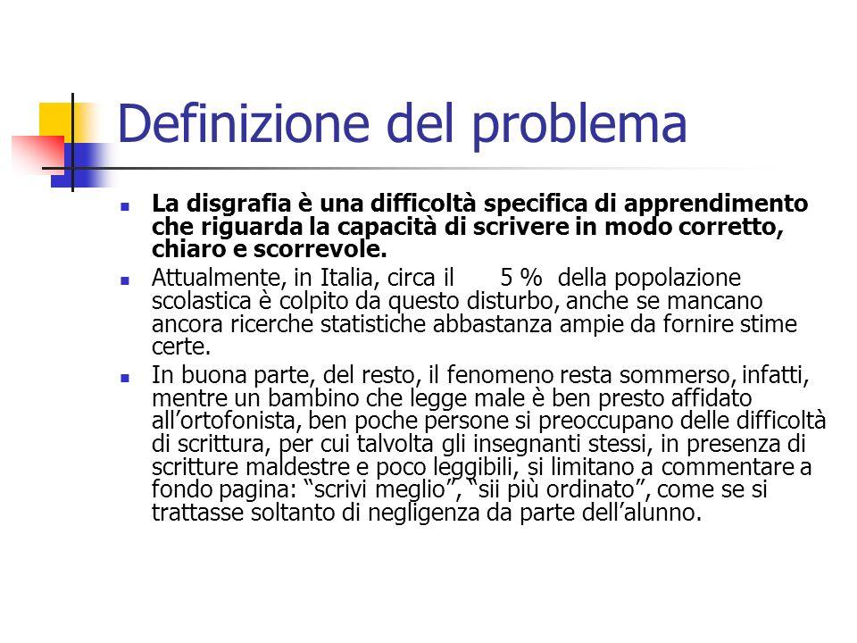 Definizione del problema La disgrafia è una difficoltà specifica di apprendimento che riguarda la capacità di scrivere in modo corretto, chiaro e scor