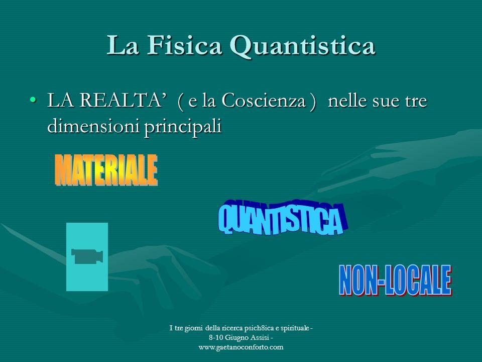 I tre giorni della ricerca psich8ica e spirituale - 8-10 Giugno Assisi - www.gaetanoconforto.com La Fisica Quantistica LA REALTA ( e la Coscienza ) ne