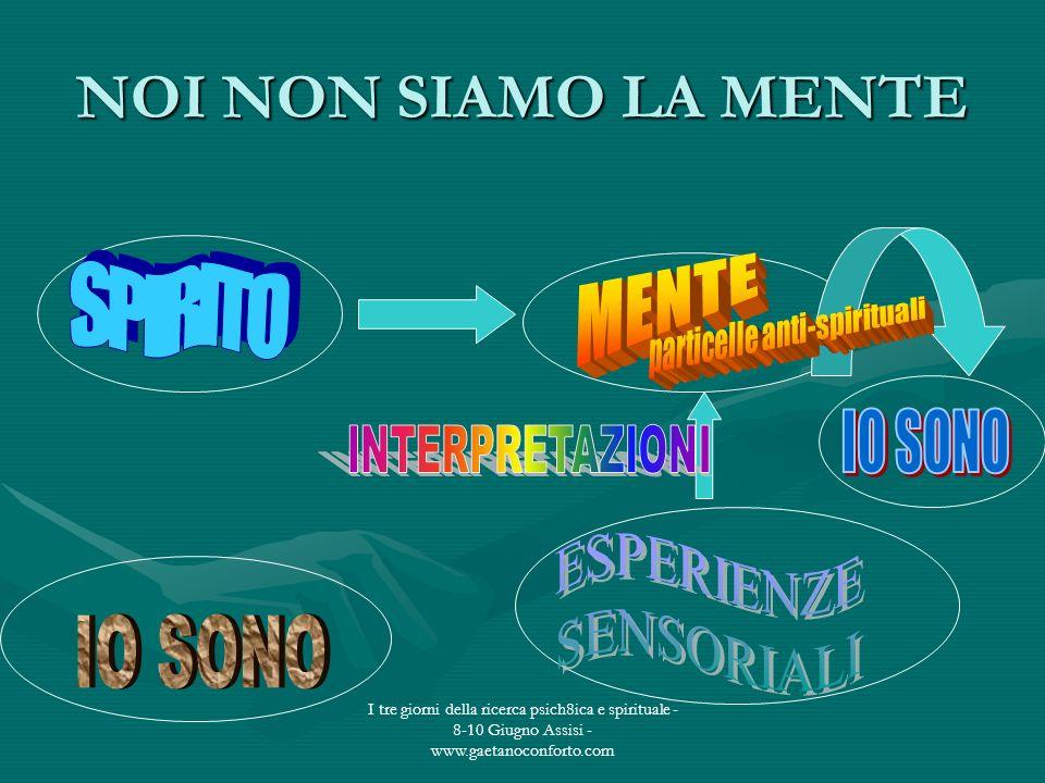 I tre giorni della ricerca psich8ica e spirituale - 8-10 Giugno Assisi - www.gaetanoconforto.com NOI NON SIAMO LA MENTE