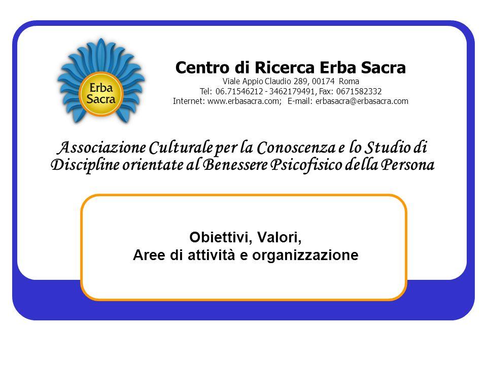Obiettivi, Valori, Aree di attività e organizzazione Centro di Ricerca Erba Sacra Viale Appio Claudio 289, 00174 Roma Tel: 06.71546212 - 3462179491, F