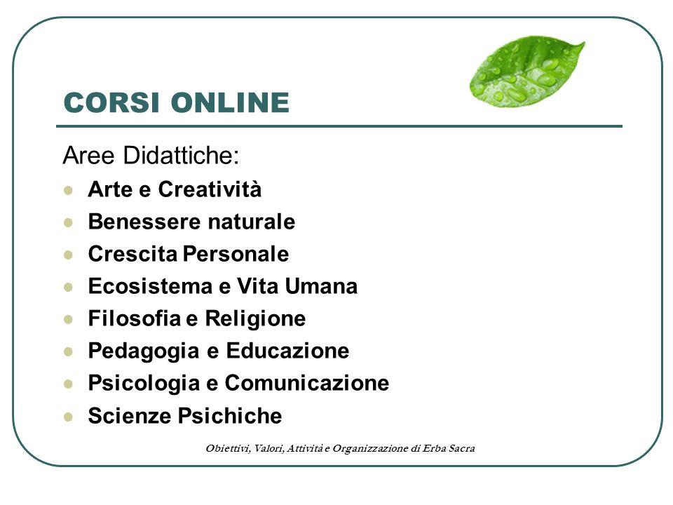 Obiettivi, Valori, Attività e Organizzazione di Erba Sacra CORSI ONLINE Aree Didattiche: Arte e Creatività Benessere naturale Crescita Personale Ecosi