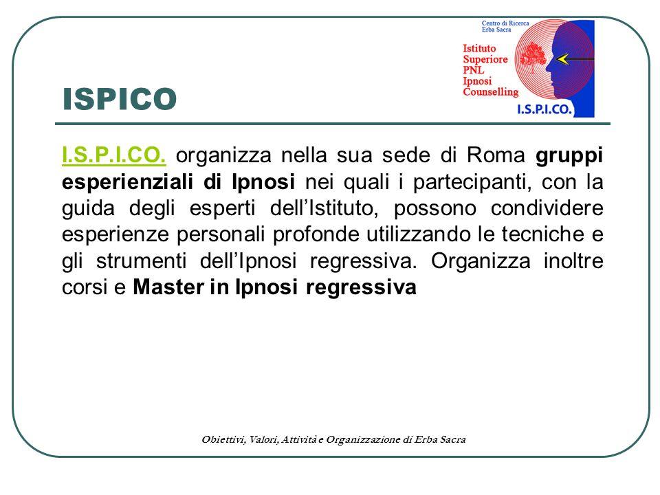 Obiettivi, Valori, Attività e Organizzazione di Erba Sacra I.S.P.I.CO.I.S.P.I.CO. organizza nella sua sede di Roma gruppi esperienziali di Ipnosi nei