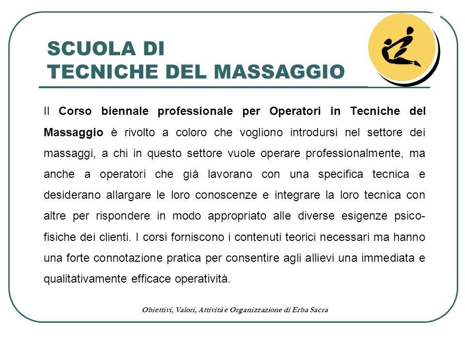 Obiettivi, Valori, Attività e Organizzazione di Erba Sacra Il Corso biennale professionale per Operatori in Tecniche del Massaggio è rivolto a coloro
