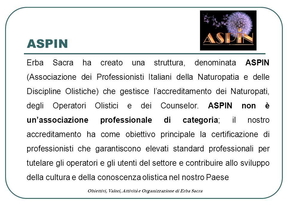 Obiettivi, Valori, Attività e Organizzazione di Erba Sacra ASPIN Erba Sacra ha creato una struttura, denominata ASPIN (Associazione dei Professionisti