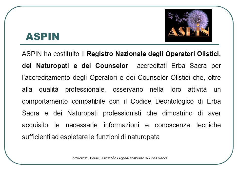 Obiettivi, Valori, Attività e Organizzazione di Erba Sacra ASPIN ha costituito Il Registro Nazionale degli Operatori Olistici, dei Naturopati e dei Co