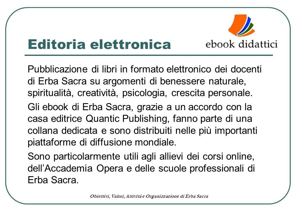 Obiettivi, Valori, Attività e Organizzazione di Erba Sacra Editoria elettronica Pubblicazione di libri in formato elettronico dei docenti di Erba Sacr