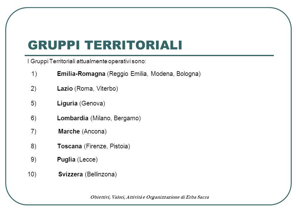 Obiettivi, Valori, Attività e Organizzazione di Erba Sacra I Gruppi Territoriali attualmente operativi sono: 1) Emilia-Romagna (Reggio Emilia, Modena,