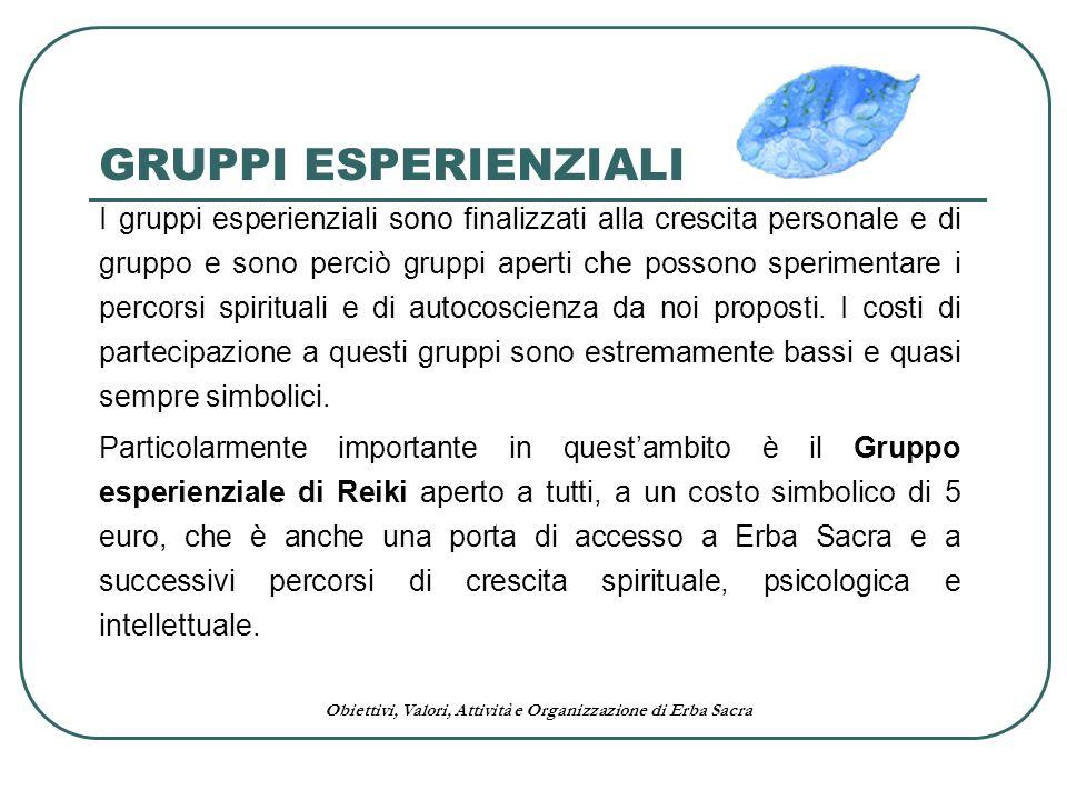 Obiettivi, Valori, Attività e Organizzazione di Erba Sacra GRUPPI ESPERIENZIALI I gruppi esperienziali sono finalizzati alla crescita personale e di g