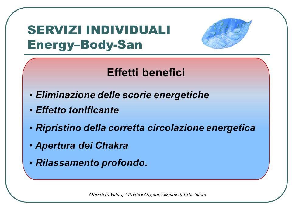 Obiettivi, Valori, Attività e Organizzazione di Erba Sacra Effetti benefici Eliminazione delle scorie energetiche Effetto tonificante Ripristino della