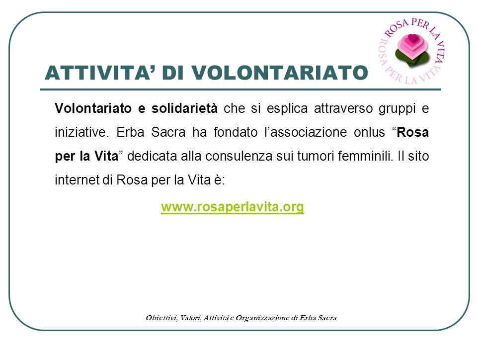 Obiettivi, Valori, Attività e Organizzazione di Erba Sacra ATTIVITA DI VOLONTARIATO Volontariato e solidarietà che si esplica attraverso gruppi e iniz