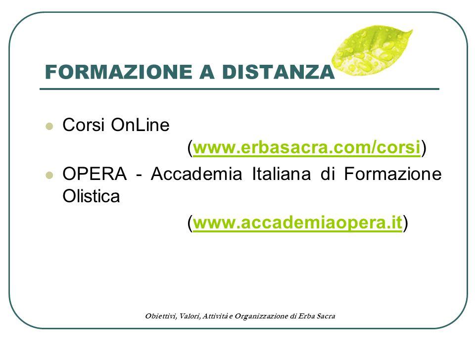 Obiettivi, Valori, Attività e Organizzazione di Erba Sacra FORMAZIONE A DISTANZA Corsi OnLine (www.erbasacra.com/corsi)www.erbasacra.com/corsi OPERA -