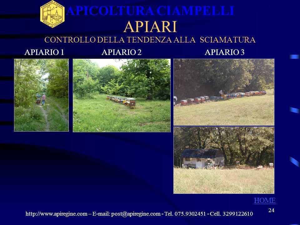 23 PRODUZIONE http://www.apiregine.com – E-mail: post@apiregine.com - Tel. 075.9302451 - Cell. 3299122610 APICOLTURA CIAMPELLI HOME