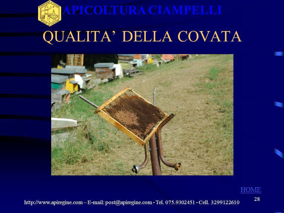27 QUALITA DELLA COVATA http://www.apiregine.com – E-mail: post@apiregine.com - Tel. 075.9302451 - Cell. 3299122610 APICOLTURA CIAMPELLI HOME