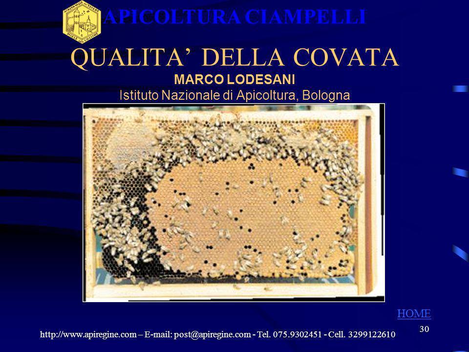 29 APICOLTURA CIAMPELLI QUALITA DELLA COVATA http://www.apiregine.com – E-mail: post@apiregine.com - Tel. 075.9302451 - Cell. 3299122610 HOME