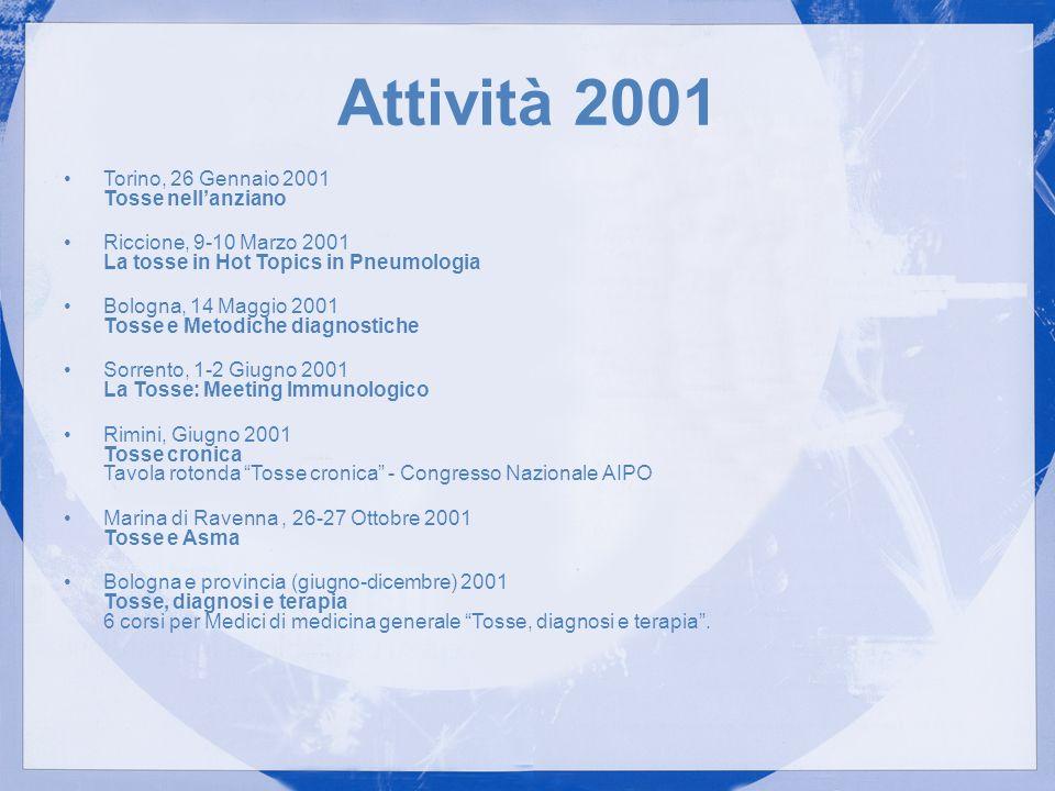 Attività 2001 Torino, 26 Gennaio 2001 Tosse nellanziano Riccione, 9-10 Marzo 2001 La tosse in Hot Topics in Pneumologia Bologna, 14 Maggio 2001 Tosse