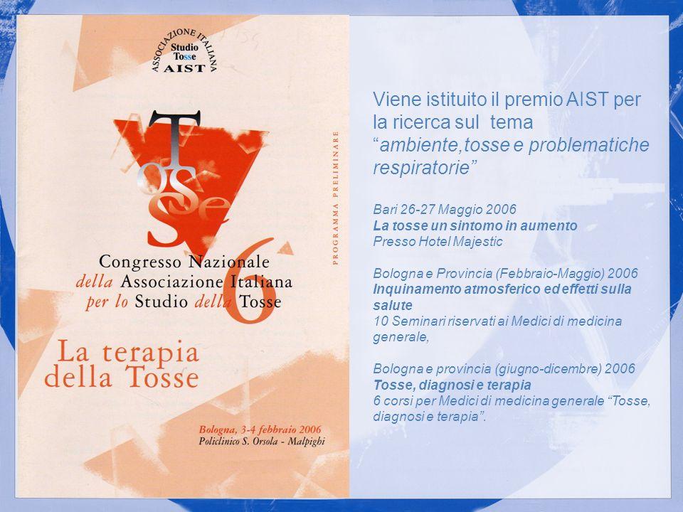 Viene istituito il premio AIST per la ricerca sul temaambiente,tosse e problematiche respiratorie Bari 26-27 Maggio 2006 La tosse un sintomo in aument