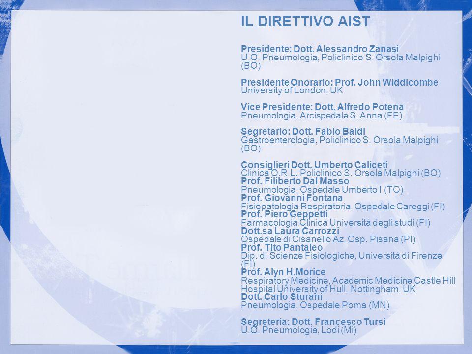 IL DIRETTIVO AIST Presidente: Dott. Alessandro Zanasi U.O. Pneumologia, Policlinico S. Orsola Malpighi (BO) Presidente Onorario: Prof. John Widdicombe