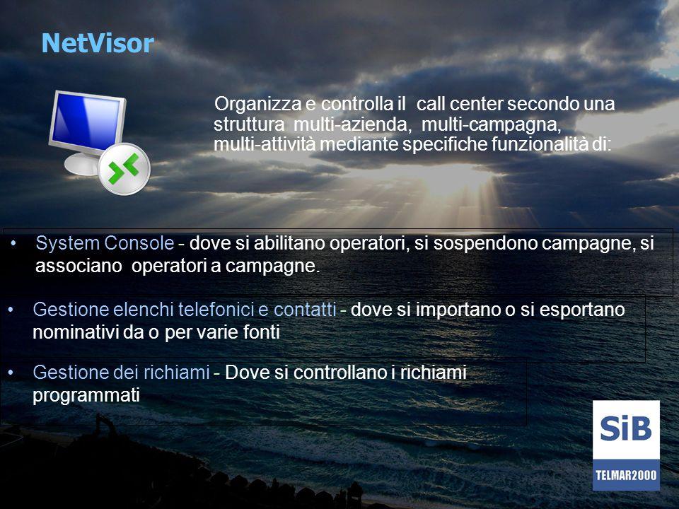 NetVisor Organizza e controlla il call center secondo una struttura multi-azienda, multi-campagna, multi-attività mediante specifiche funzionalità di: