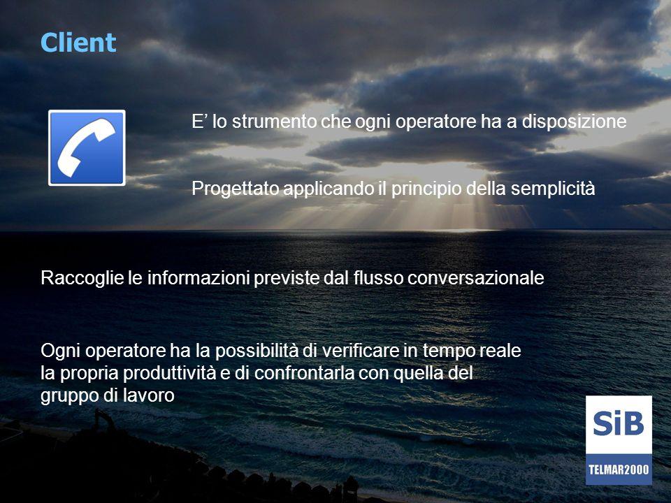 Client E lo strumento che ogni operatore ha a disposizione Raccoglie le informazioni previste dal flusso conversazionale Ogni operatore ha la possibil