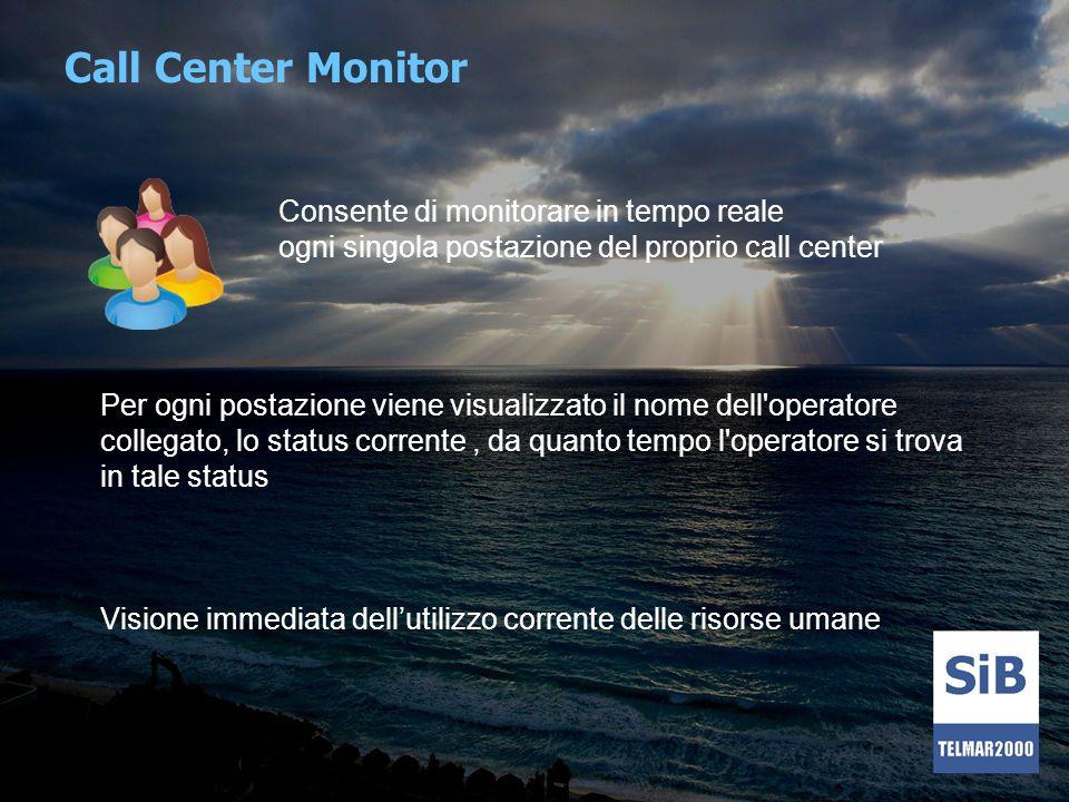 Call Center Monitor Consente di monitorare in tempo reale ogni singola postazione del proprio call center Per ogni postazione viene visualizzato il no