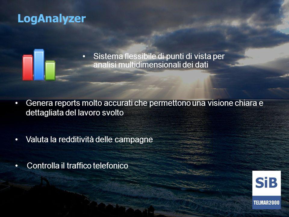 LogAnalyzer Sistema flessibile di punti di vista per analisi multidimensionali dei dati Genera reports molto accurati che permettono una visione chiar