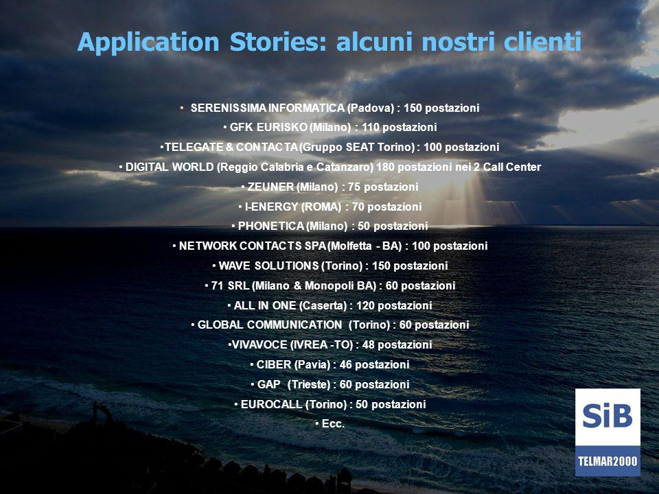 Application Stories: alcuni nostri clienti SERENISSIMA INFORMATICA (Padova) : 150 postazioni GFK EURISKO (Milano) : 110 postazioni TELEGATE & CONTACTA