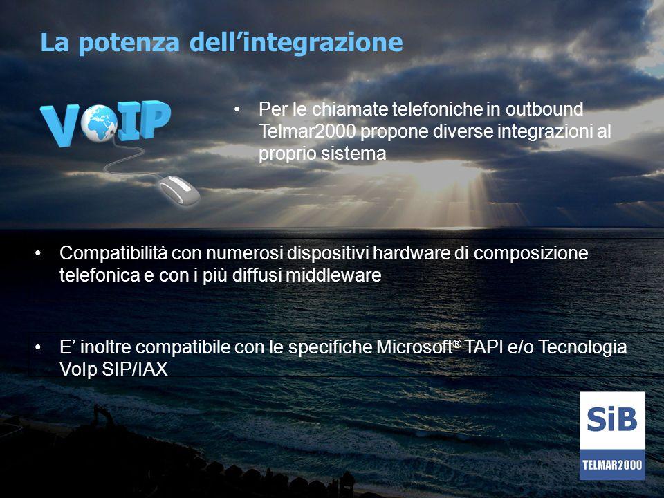 Per le chiamate telefoniche in outbound Telmar2000 propone diverse integrazioni al proprio sistema E inoltre compatibile con le specifiche Microsoft ®