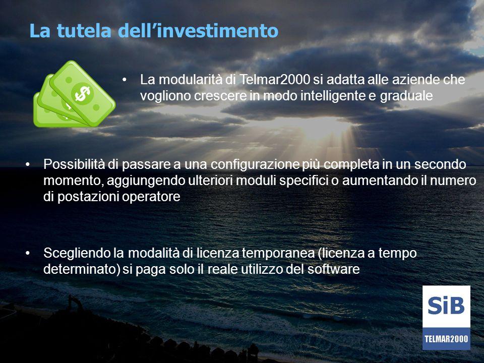 La tutela dellinvestimento La modularità di Telmar2000 si adatta alle aziende che vogliono crescere in modo intelligente e graduale Possibilità di pas