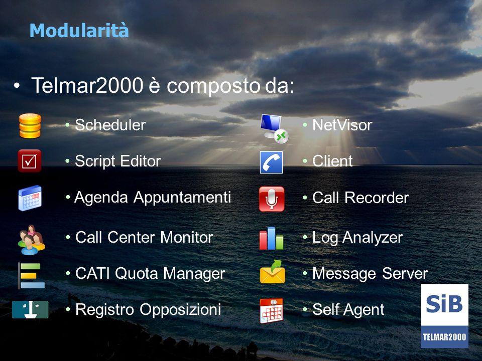 Scheduler E il modulo che rappresenta il cuore centrale di Telmar2000 Sfrutta Sql Server, il database Microsoft sinonimo di affidabilità, alte prestazioni e sicurezza Gestisce tutte le postazioni client (operatore) e tutti i moduli di supervisione