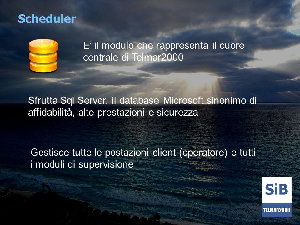 Scheduler E il modulo che rappresenta il cuore centrale di Telmar2000 Sfrutta Sql Server, il database Microsoft sinonimo di affidabilità, alte prestaz