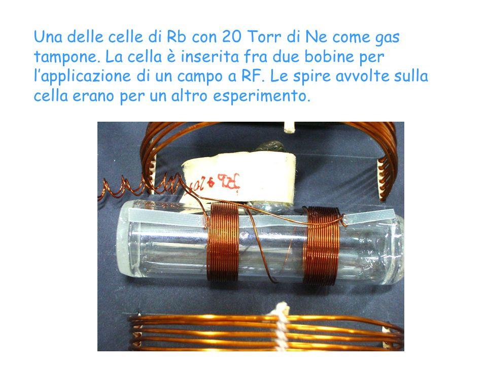 Una delle celle di Rb con 20 Torr di Ne come gas tampone. La cella è inserita fra due bobine per lapplicazione di un campo a RF. Le spire avvolte sull