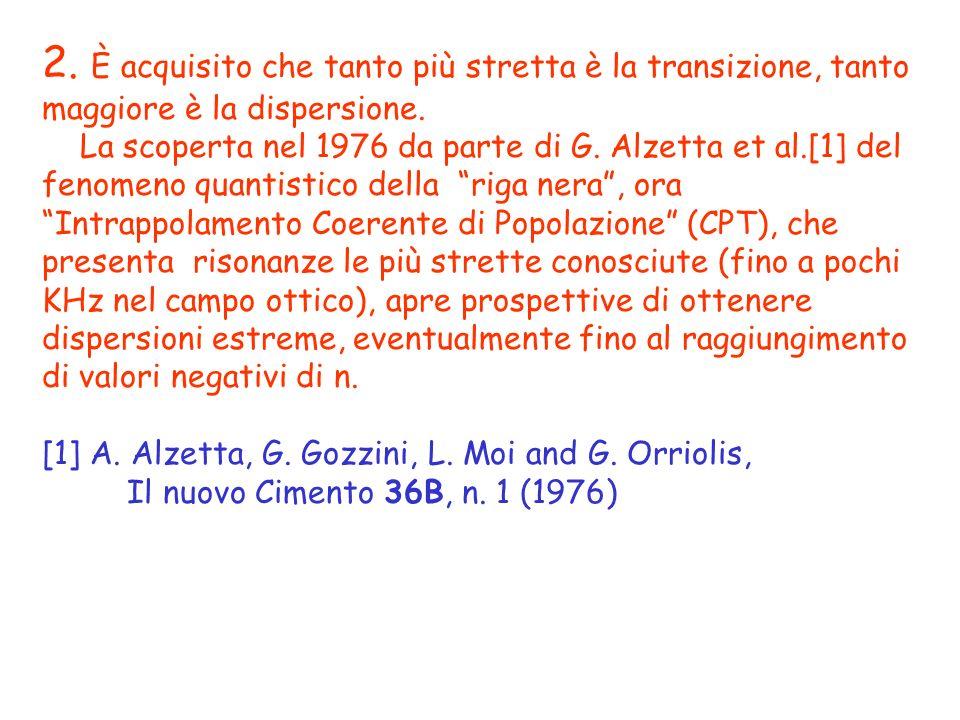 2. È acquisito che tanto più stretta è la transizione, tanto maggiore è la dispersione. La scoperta nel 1976 da parte di G. Alzetta et al.[1] del feno