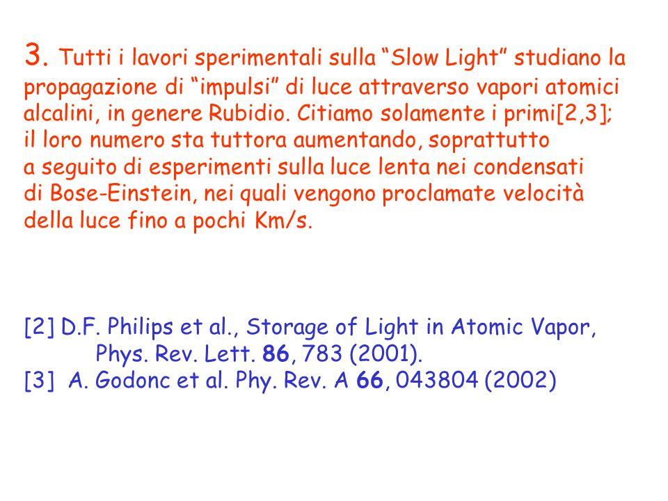 3. Tutti i lavori sperimentali sulla Slow Light studiano la propagazione di impulsi di luce attraverso vapori atomici alcalini, in genere Rubidio. Cit