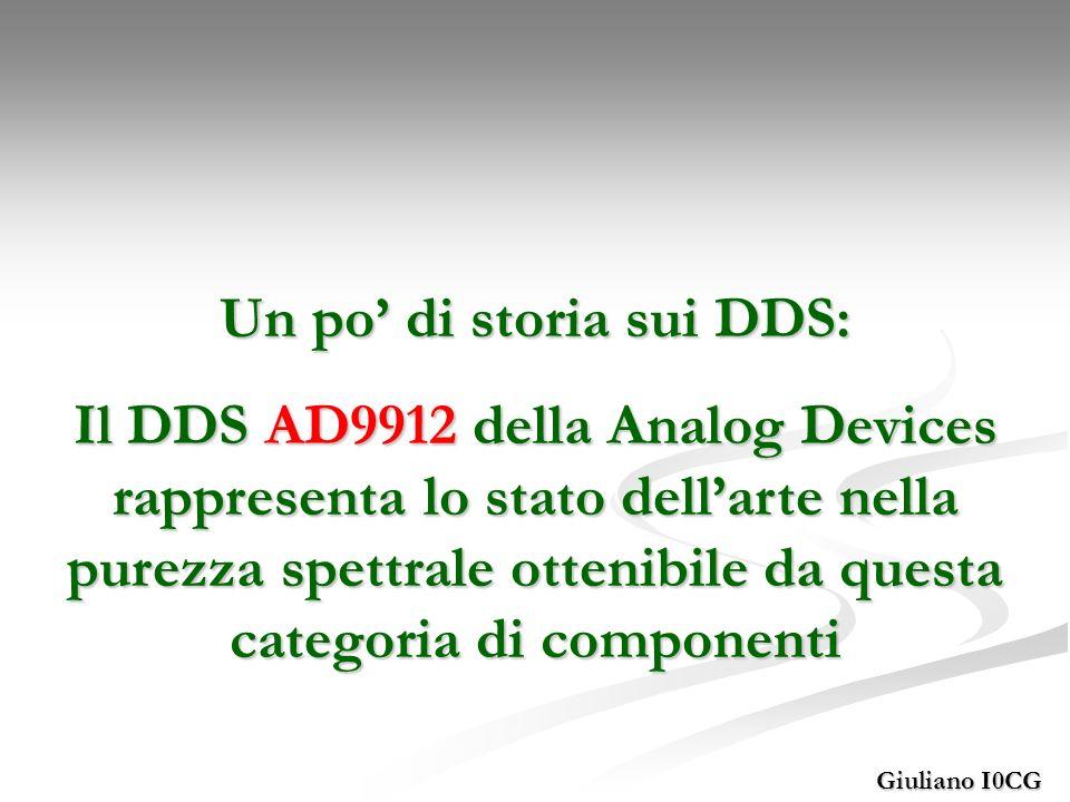 Giuliano I0CG Un po di storia sui DDS: Il DDS AD9912 della Analog Devices rappresenta lo stato dellarte nella purezza spettrale ottenibile da questa c