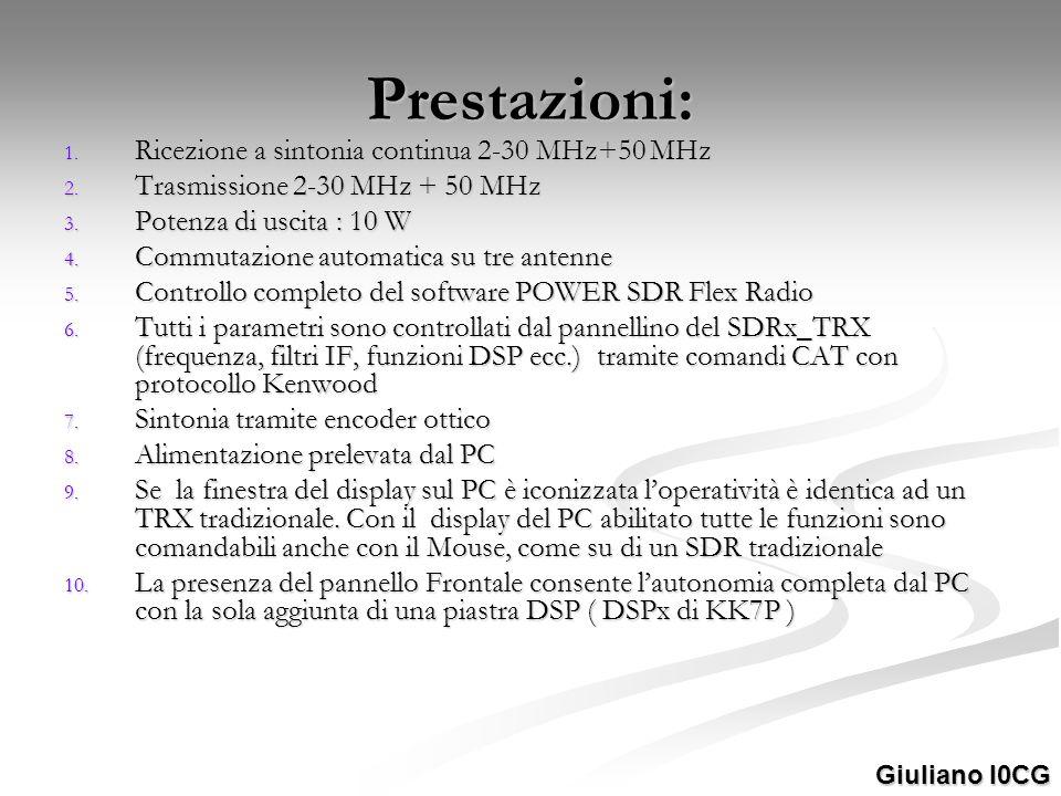 Prestazioni: 1. Ricezione a sintonia continua 2-30 MHz+50 MHz 2. Trasmissione 2-30 MHz + 50 MHz 3. Potenza di uscita : 10 W 4. Commutazione automatica