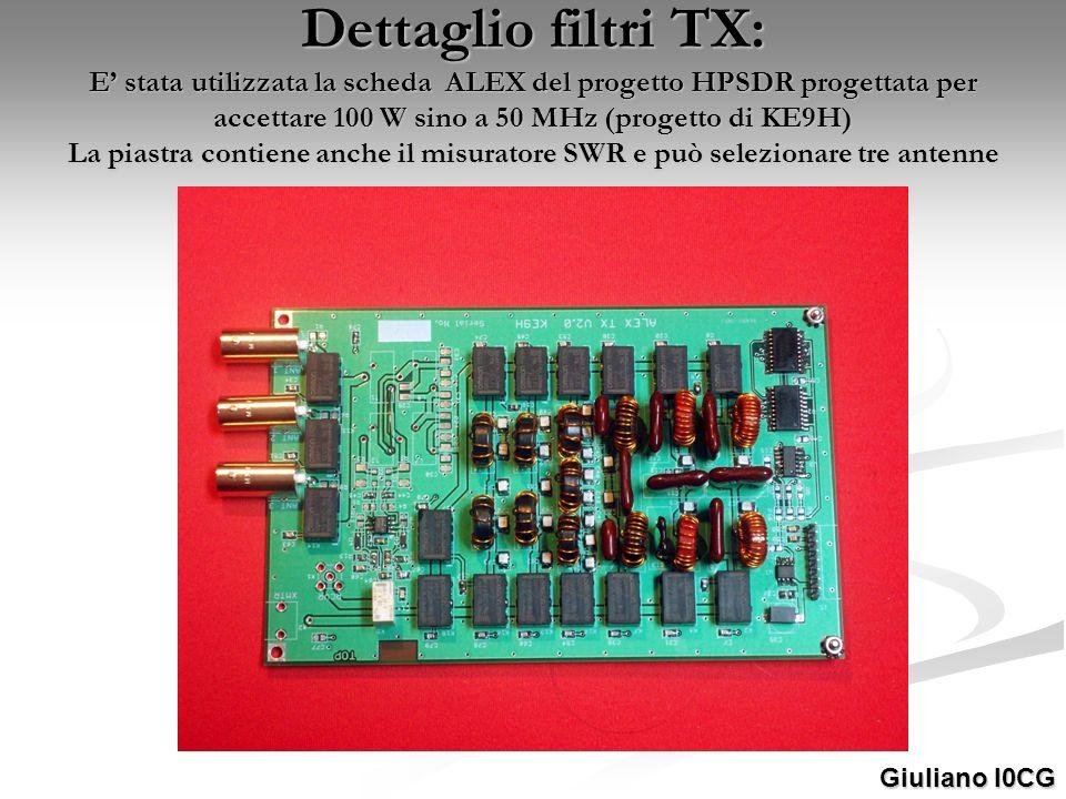 Dettaglio filtri TX: E stata utilizzata la scheda ALEX del progetto HPSDR progettata per accettare 100 W sino a 50 MHz (progetto di KE9H) La piastra c