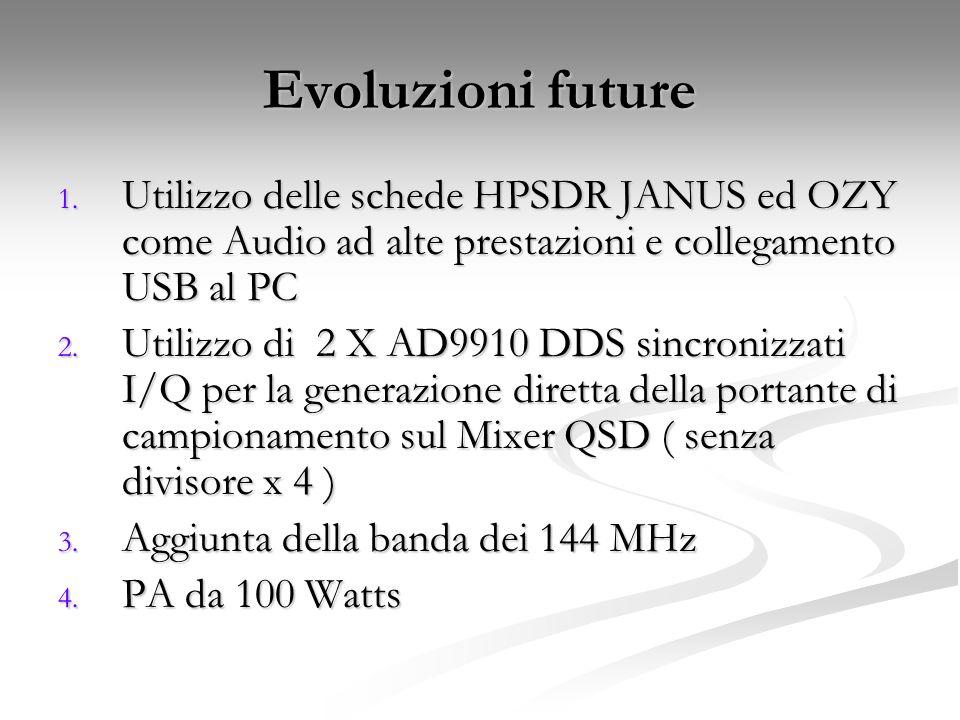 Evoluzioni future 1. Utilizzo delle schede HPSDR JANUS ed OZY come Audio ad alte prestazioni e collegamento USB al PC 2. Utilizzo di 2 X AD9910 DDS si