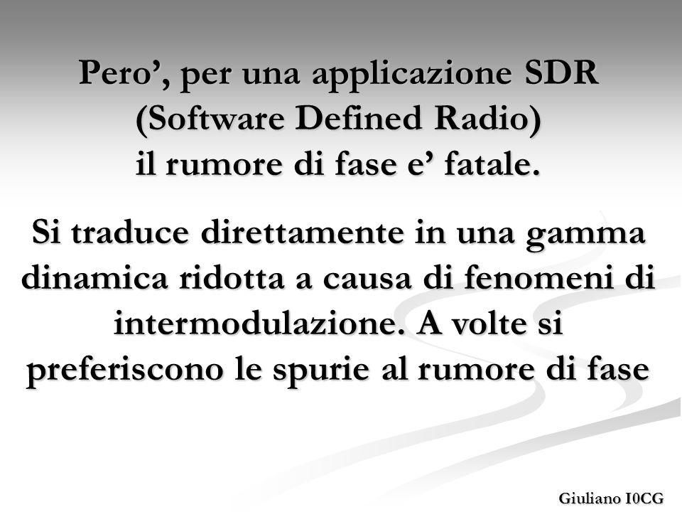 Giuliano I0CG Pero, per una applicazione SDR (Software Defined Radio) il rumore di fase e fatale. Si traduce direttamente in una gamma dinamica ridott