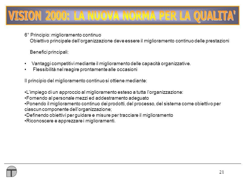 21 6° Principio: miglioramento continuo Obiettivo principale dellorganizzazione deve essere il miglioramento continuo delle prestazioni Benefici principali: Vantaggi competitivi mediante il miglioramento delle capacità organizzative.