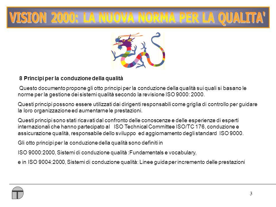 3 8 Principi per la conduzione della qualità Questo documento propone gli otto principi per la conduzione della qualità sui quali si basano le norme per la gestione dei sistemi qualità secondo la revisione ISO 9000: 2000.