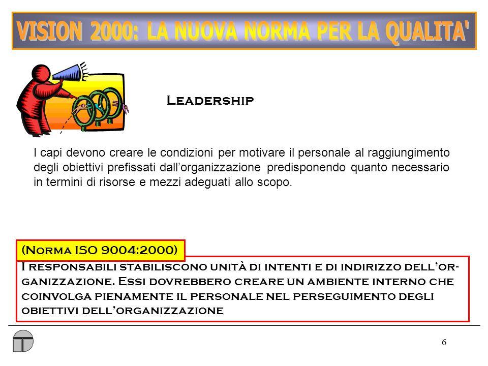 6 Leadership I responsabili stabiliscono unità di intenti e di indirizzo dellor- ganizzazione.
